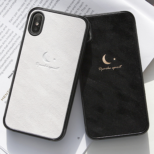 ROUGH VELVET SIMPLE MOON LEATHER COVER - 블랙