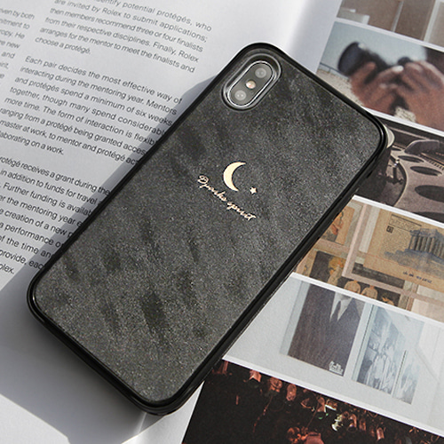 ROUGH VELVET SIMPLE MOON LEATHER COVER - 다크그레이