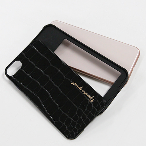 CROCO GLOSS  LEATHER COVER - 블랙글로스