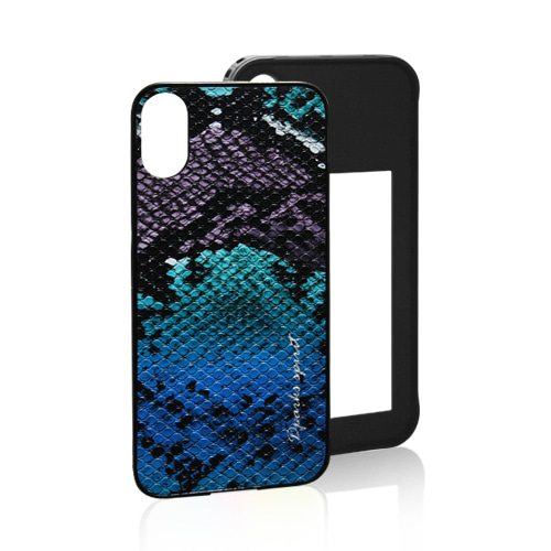 VIVID SNAKE LEATHER COVER - BLUE